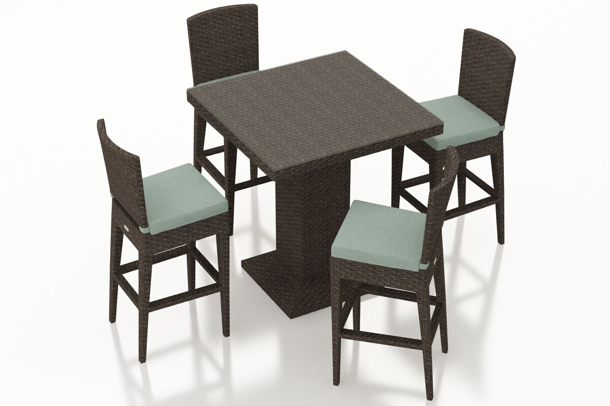 Arden 5 Piece Bar Height Dining Set with Cushions Color: Canvas Spa