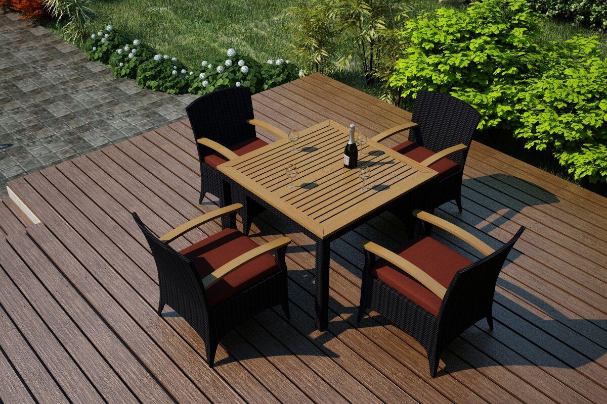Arbor 5 Piece Teak Dining Set with Sunbrella Cushions Color: Canvas Henna