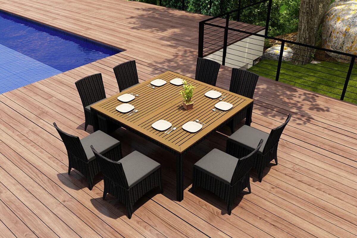Arbor 9 Piece Teak Dining Set with Sunbrella Cushions Color: Canvas Charcoal
