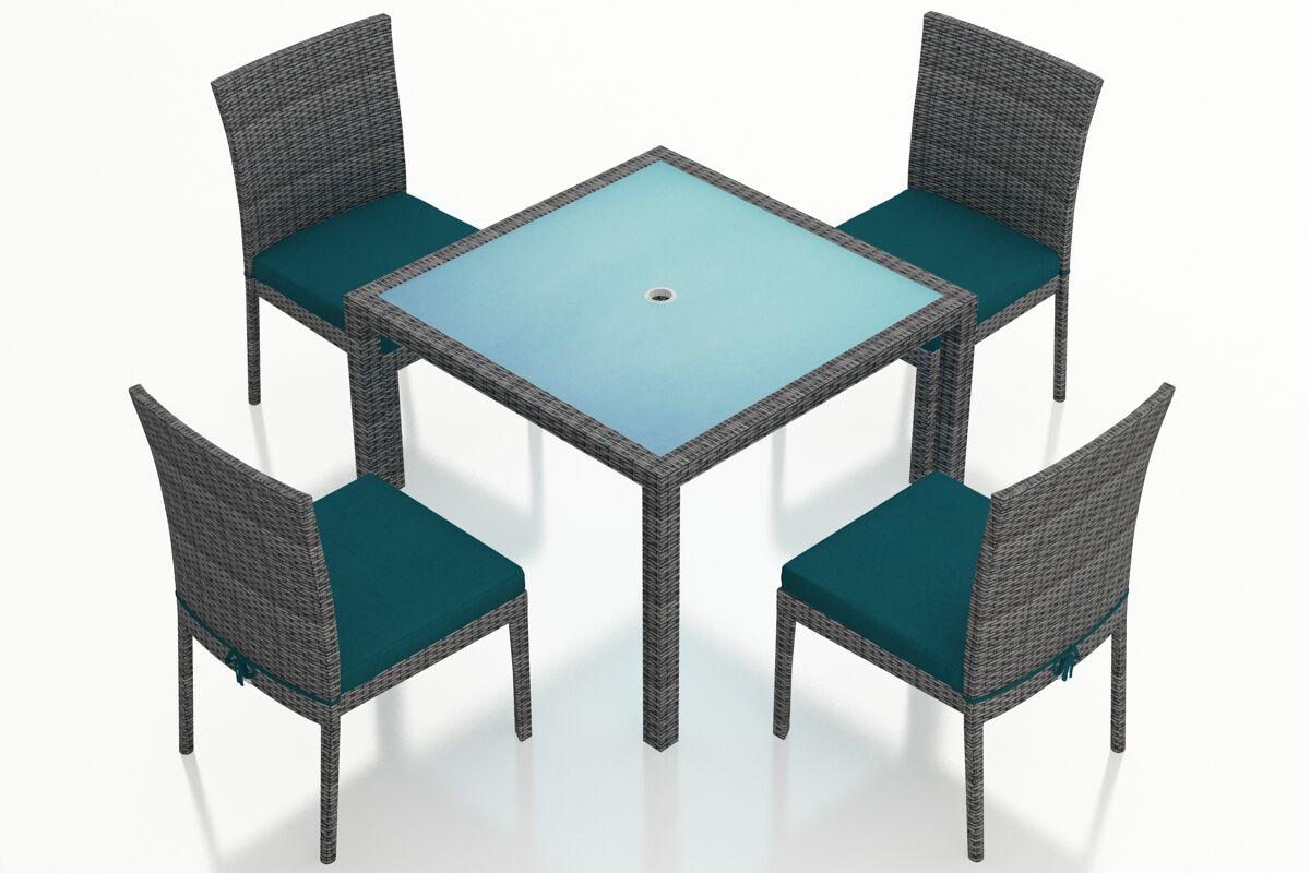 District 5 Piece Sunbrella Dining Set with Cushions Color: Spectrum Peacock