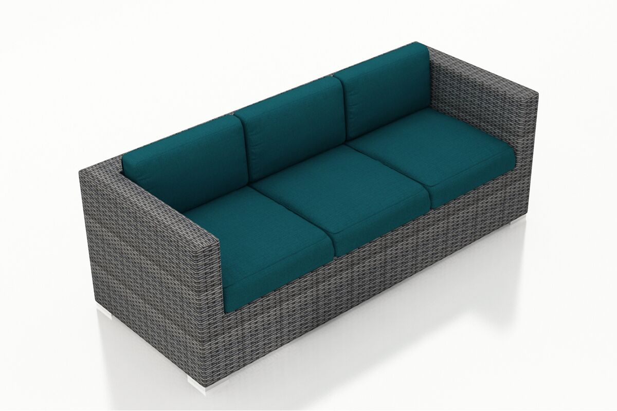 District Patio Sofa with Cushions Color: Spectrum Peacock