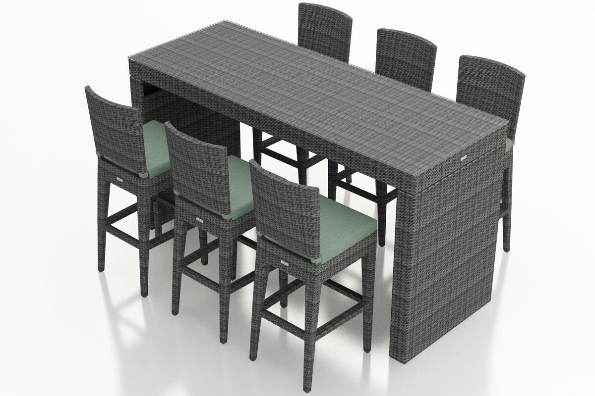 District 7 Piece Sunbrella Bar Height Dining Set With Cushion Finish: Spa