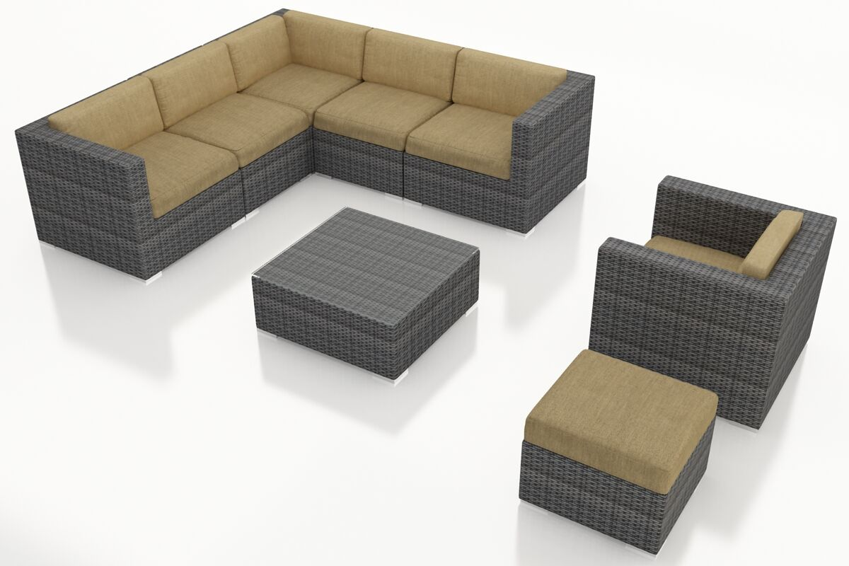 District 8 Piece Sunbrella Sectional Set with Cushions Fabric: Heather Beige