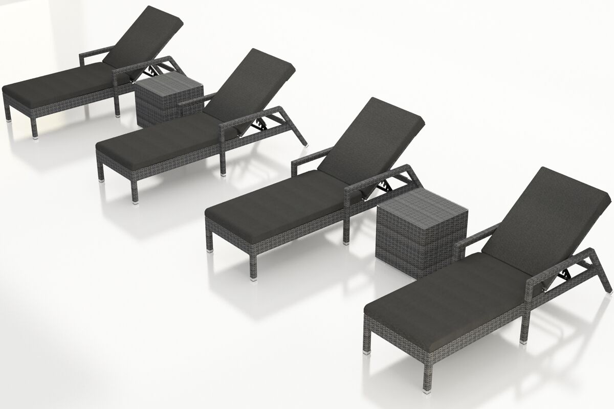District Reclining Chaise Lounge with Cushion and Table Color: Canvas Charcoal