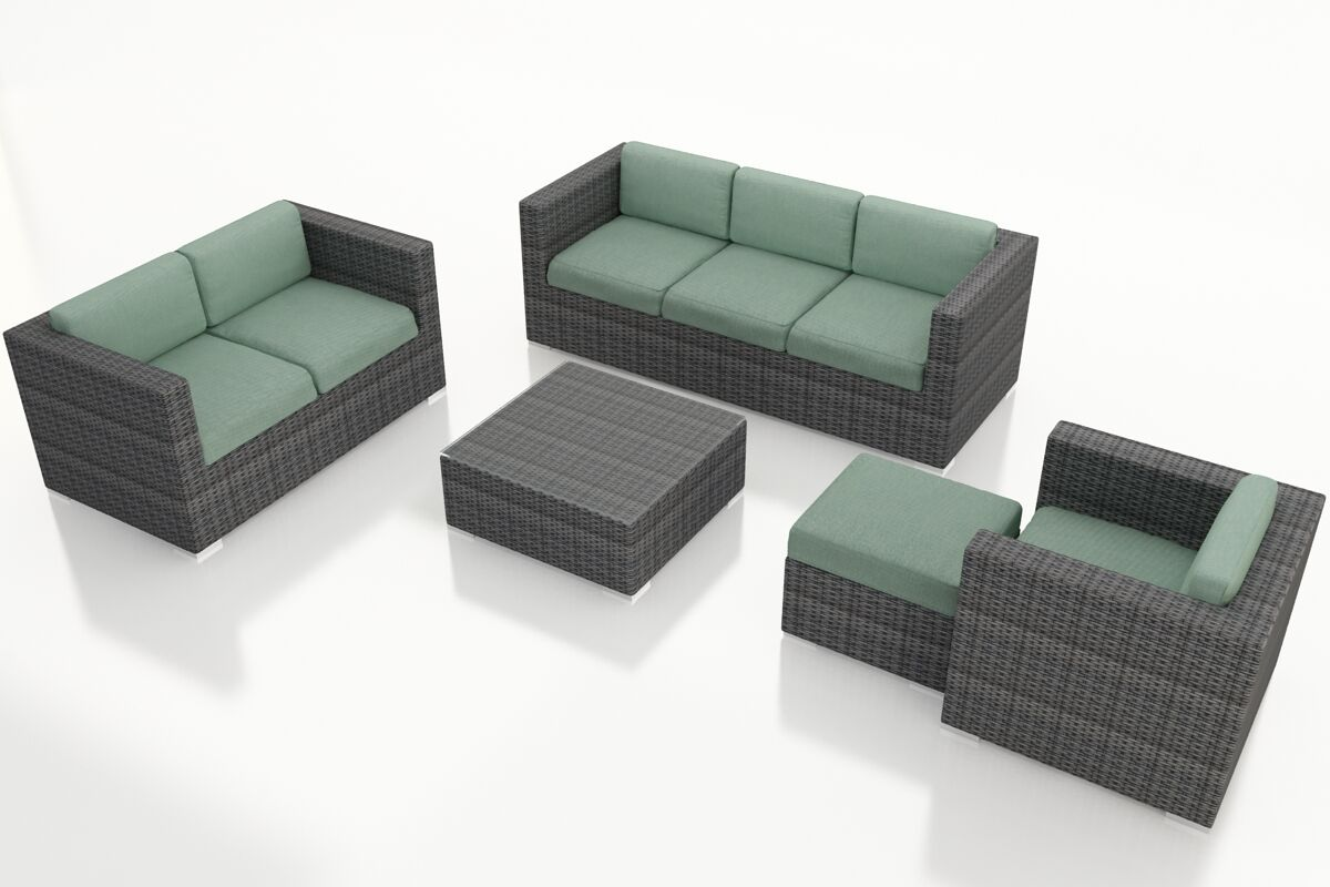 District 5 Piece Sunbrella Sofa Set with Cushions Fabric: Canvas Spa