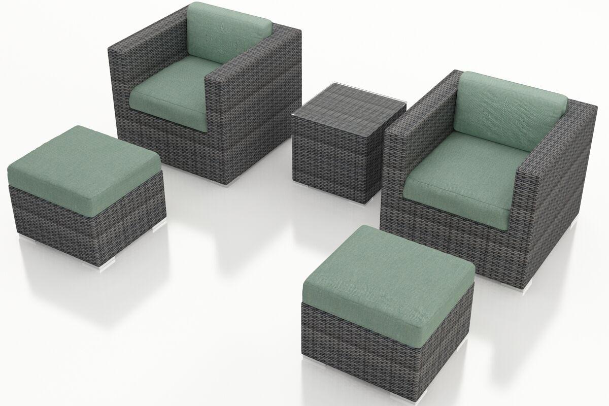 District 5 Piece Sunbrella Conversation Set with Cushions Fabric: Canvas Spa