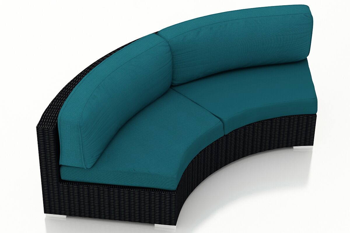 Urbana Eclipse Curved Loveseat with Cushions Color: Spectrum Peacock
