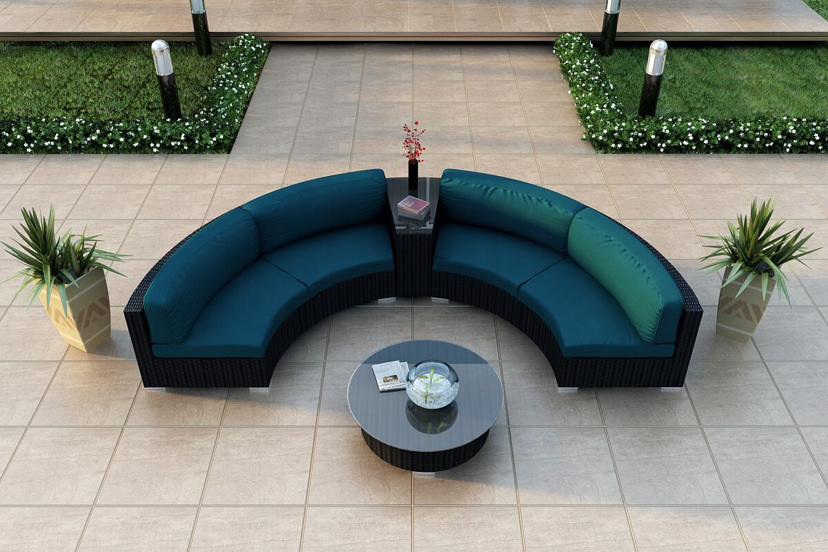 Urbana 4 Piece Sunbrella Sectional Set with Cushions Fabric: Spectrum Peacock