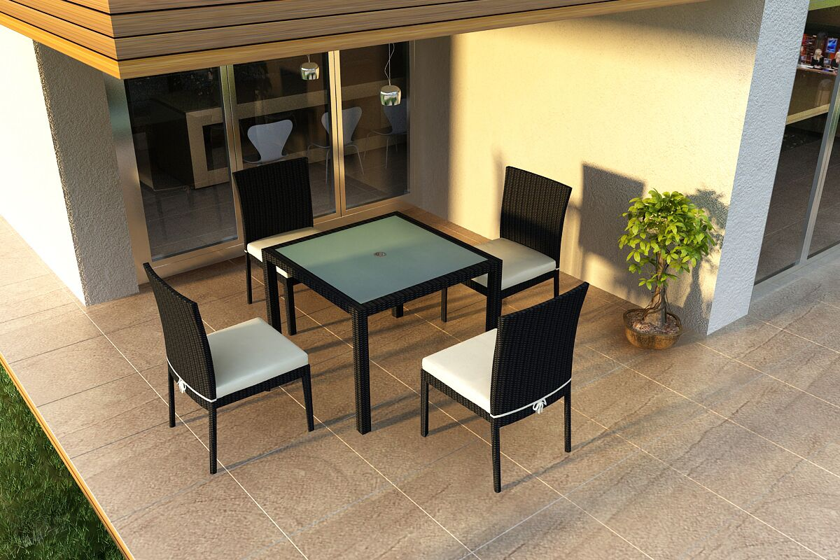 Urbana 5 Piece Sunbrella Dining Set with Cushions Color: Canvas Natural