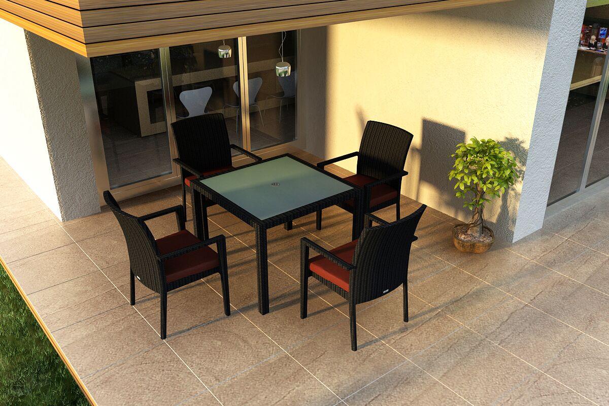 Urbana 5 Piece Sunbrella Dining Set with Cushions Color: Canvas Henna