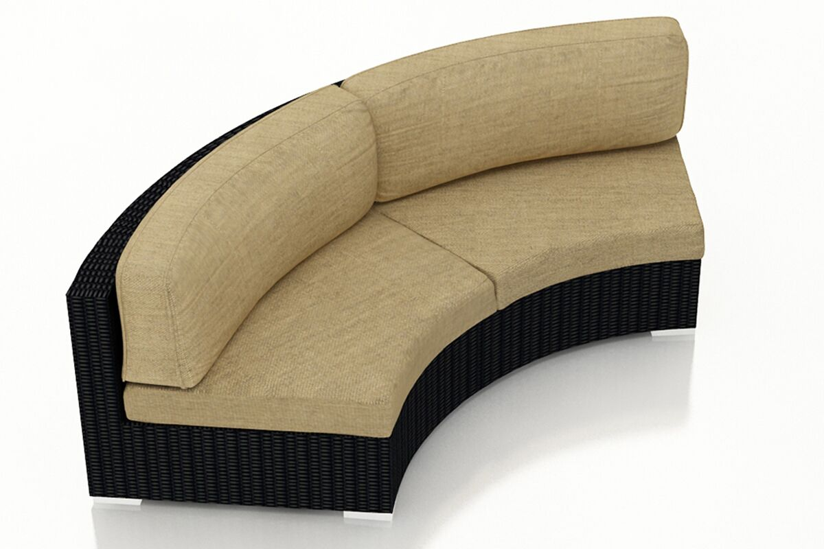 Urbana Eclipse Curved Loveseat with Cushions Color: Heather Beige