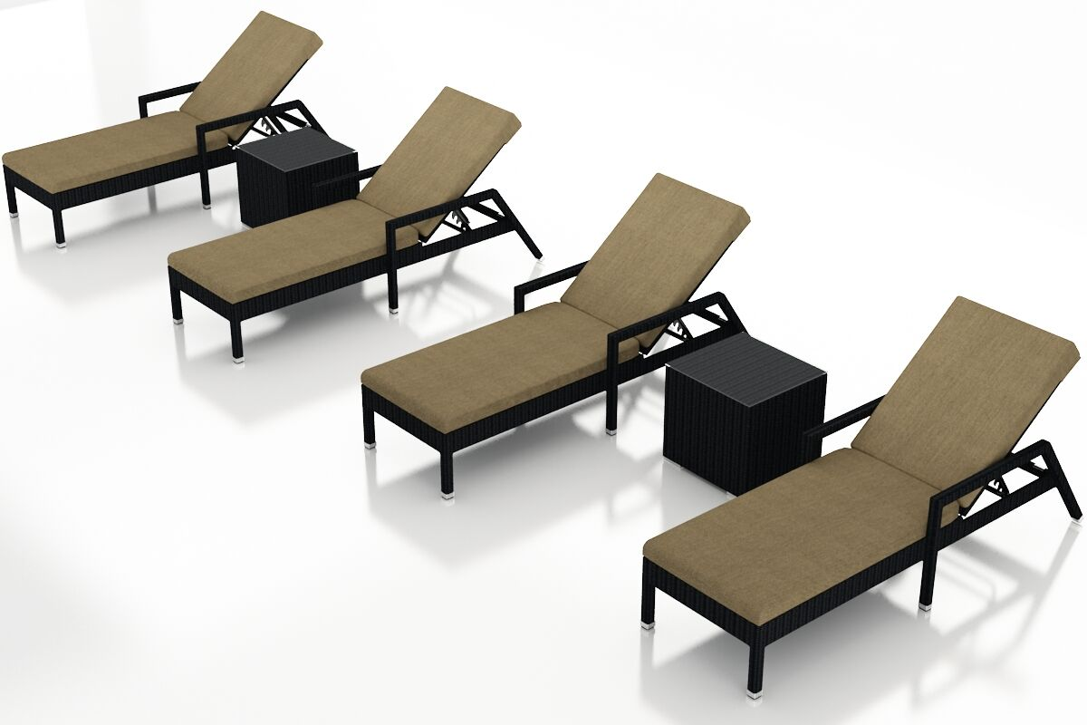 Urbana Reclining Chaise Lounge with Cushion and Table Color: Heather Beige