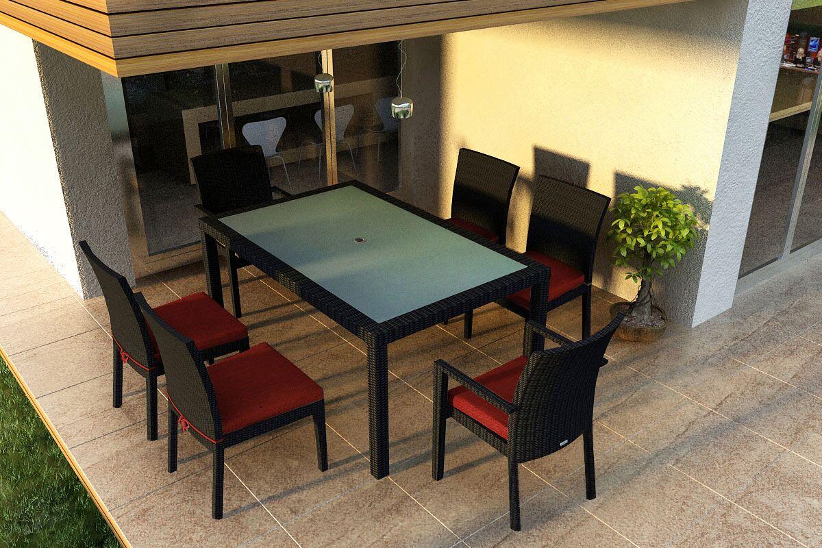 Urbana 7 Piece Sunbrella Dining Set with Cushions Color: Canvas Henna