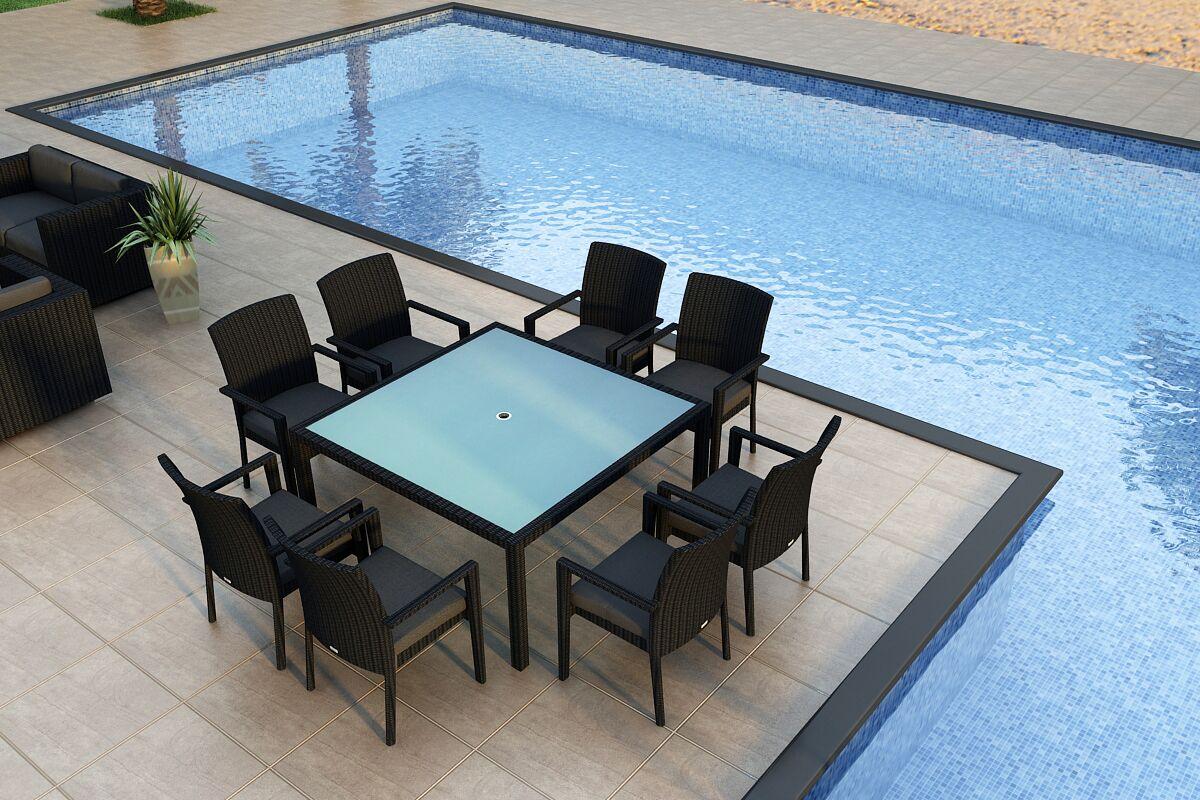 Urbana 9 Piece Sunbrella Dining Set with Cushions Color: Cast Silver