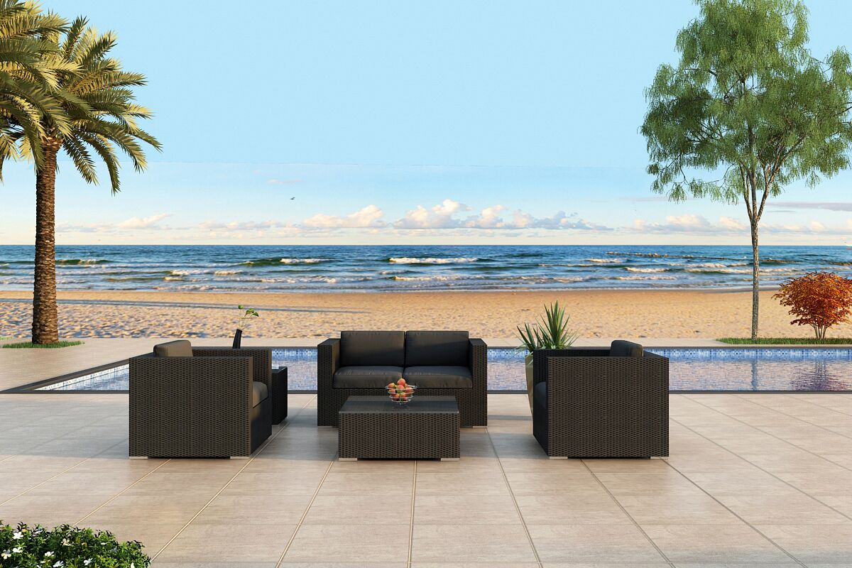 Urbana 4 Piece Sunbrella Sofa Set with Cushions Fabric: Canvas Flax