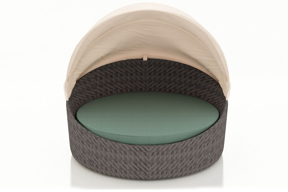 Wink Patio Daybed with Cushions Frame Color: Coffee Bean - Canvas Charcoal, Fabric Color: Canvas Flax