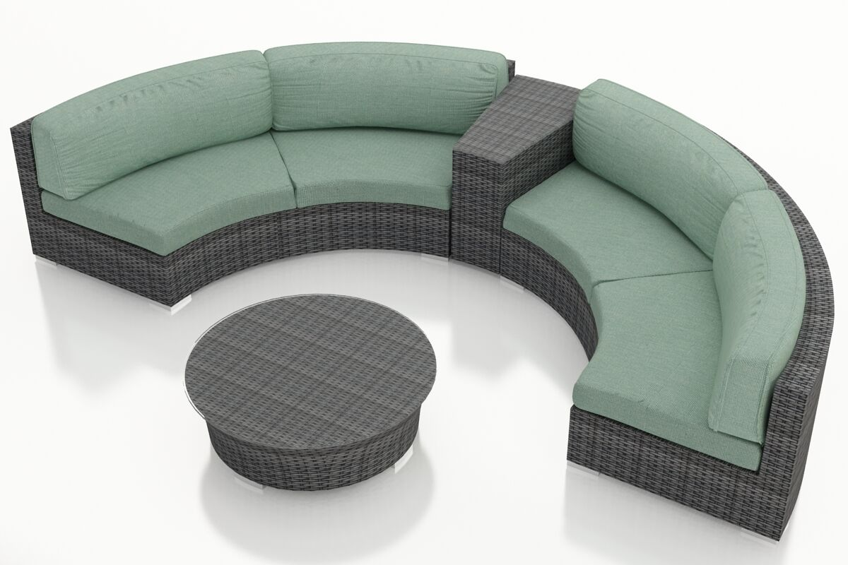 District 4 Piece Sunbrella Sectional Set with Cushions Fabric: Canvas Spa