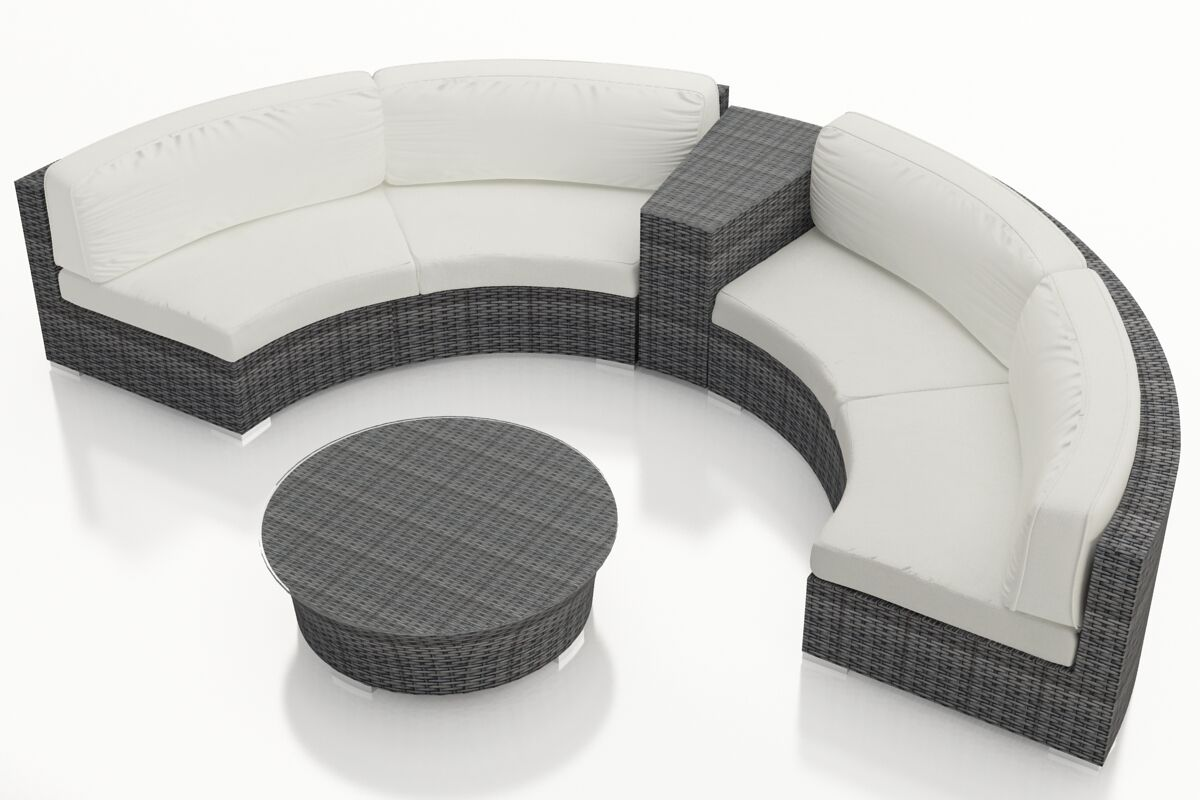 District 4 Piece Sunbrella Sectional Set with Cushions Fabric: Canvas Natural