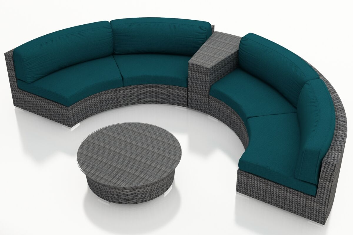 District 4 Piece Sunbrella Sectional Set with Cushions Fabric: Spectrum Peacock