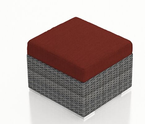 District Ottoman with Cushion Fabric: Canvas Henna
