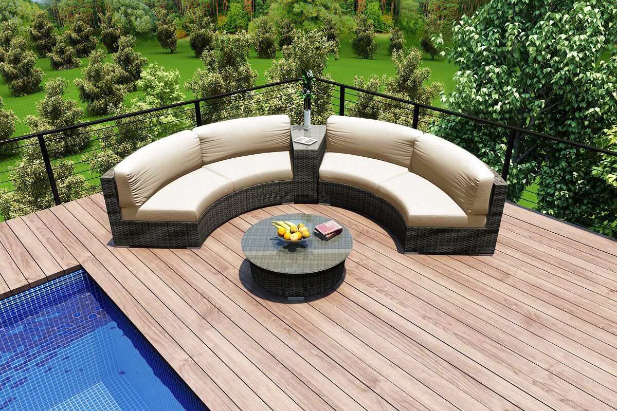 District 4 Piece Sunbrella Sectional Set with Cushions Fabric: Canvas Flax