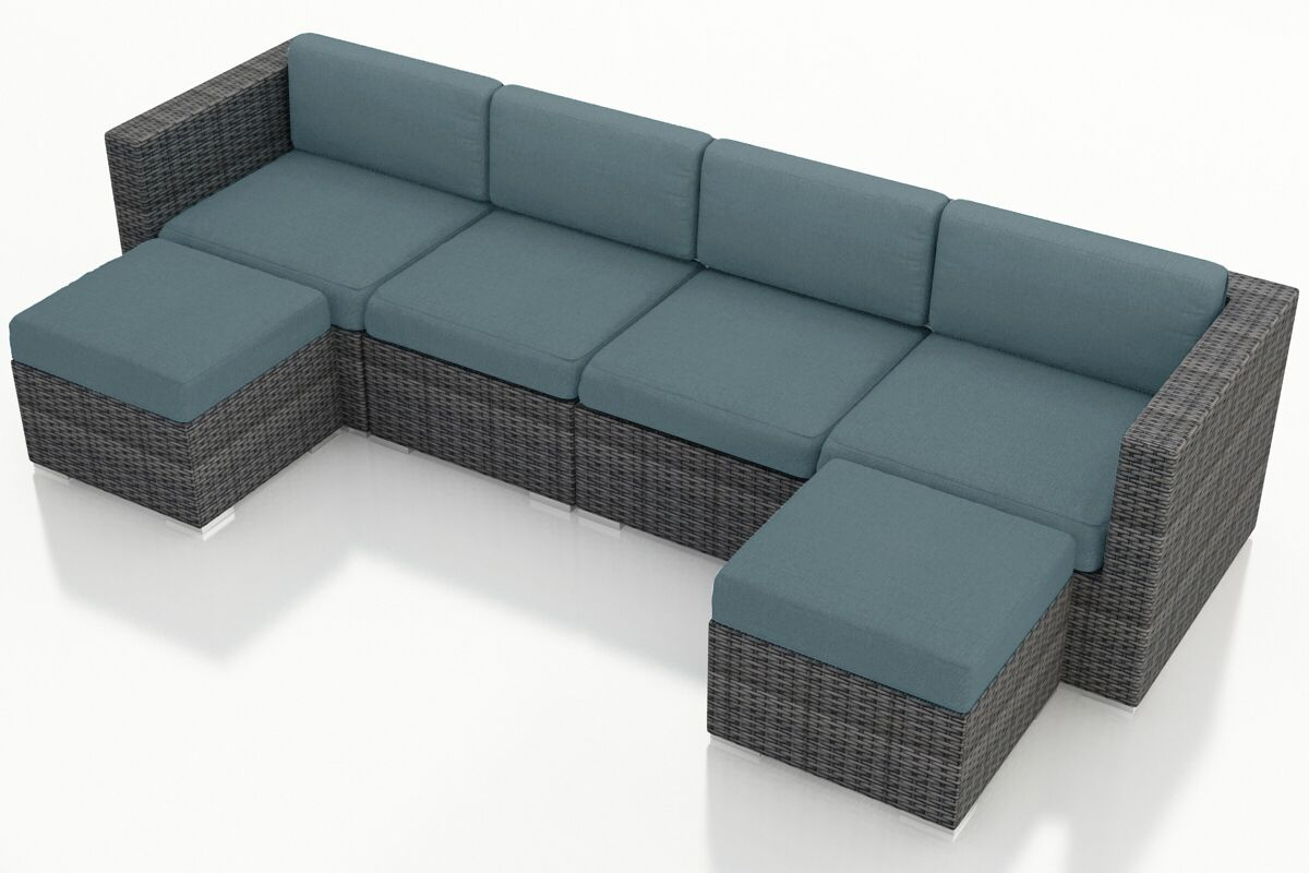 District 6 Piece Sunbrella Sectional Set with Cushions Fabric: Cast Lagoon