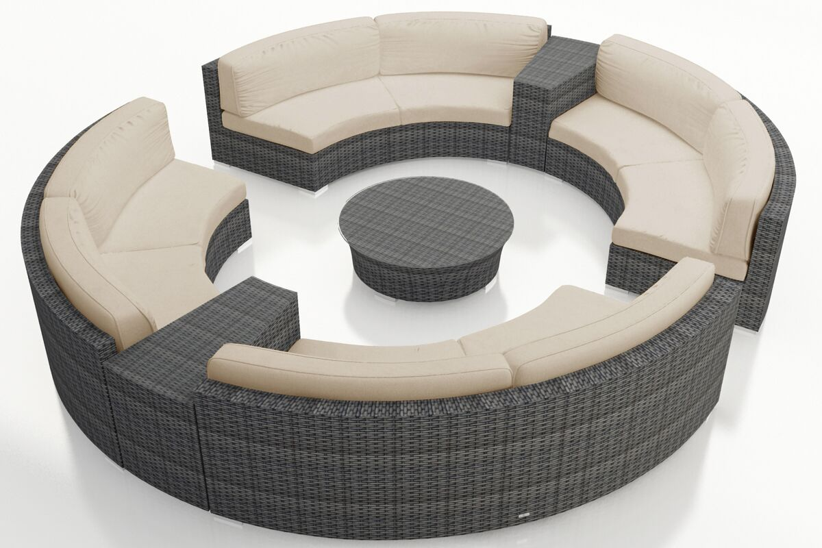 District 7 Piece Sunbrella Sectional Set with Cushions Fabric: Canvas Flax