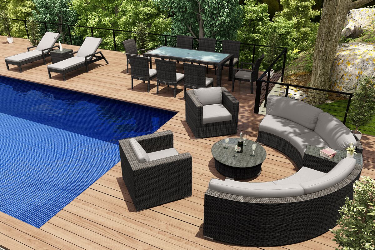 District 18 Piece Sunbrella Sectional Set with Cushions Fabric: Cast Silver