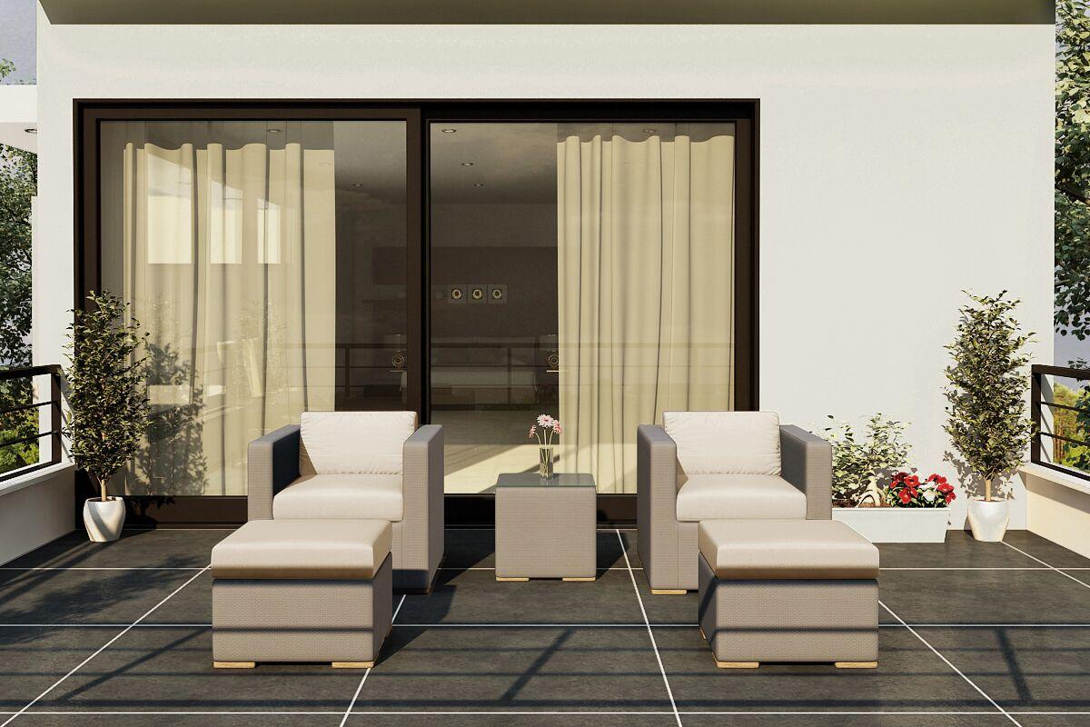 Element 5 Piece Teak Conversation Set with Sunbrella Cushions Fabric: Canvas Flax