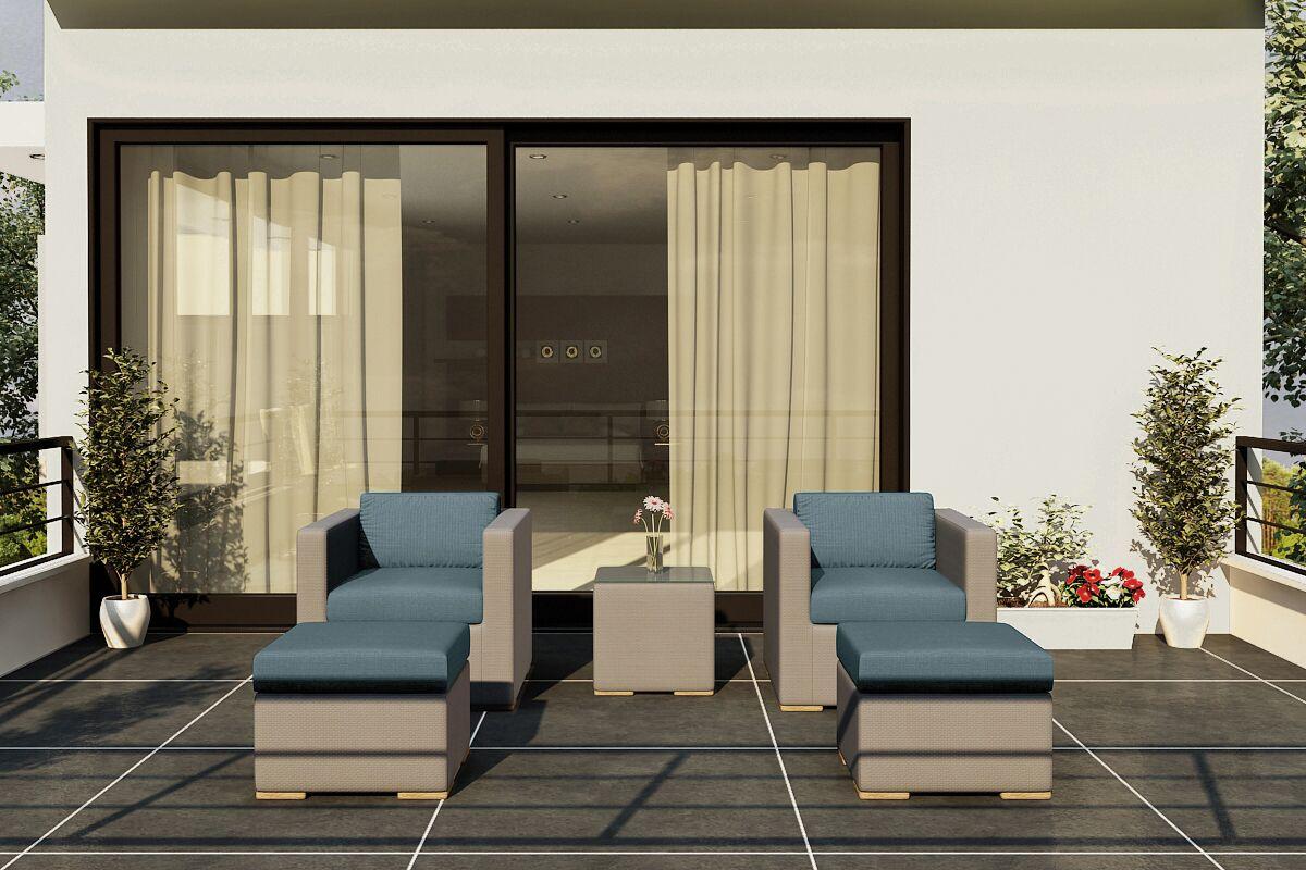 Element 5 Piece Teak Conversation Set with Sunbrella Cushions Fabric: Cast Lagoon