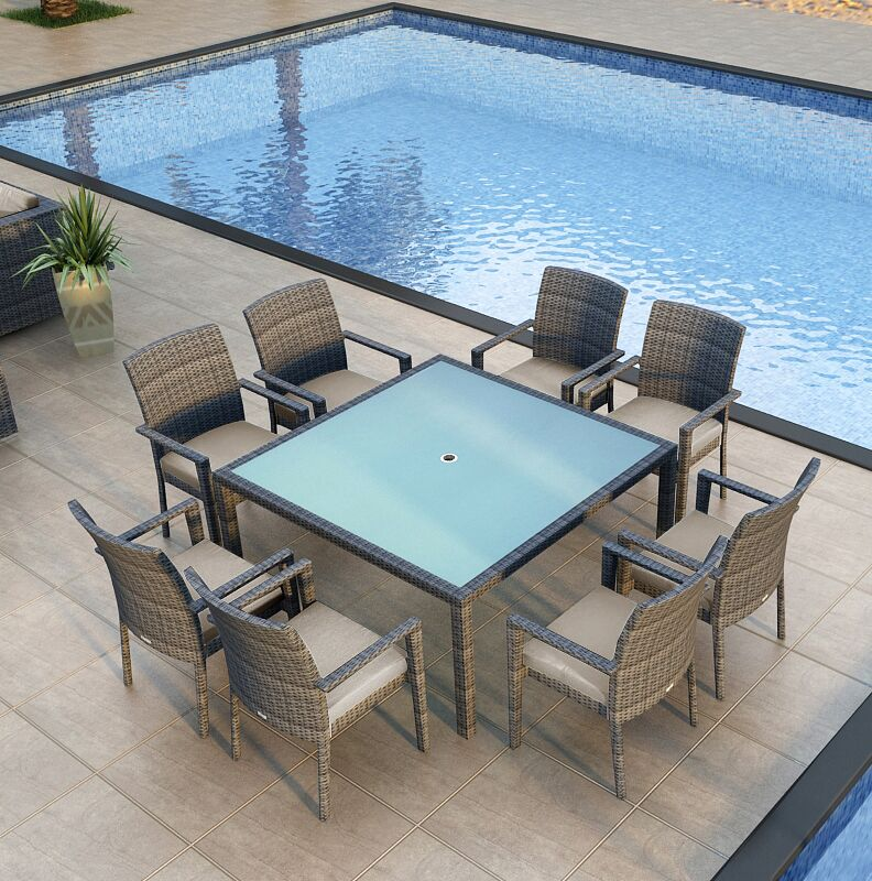 District 9 Piece Sunbrella Dining Set with Cushions Color: Cast Silver