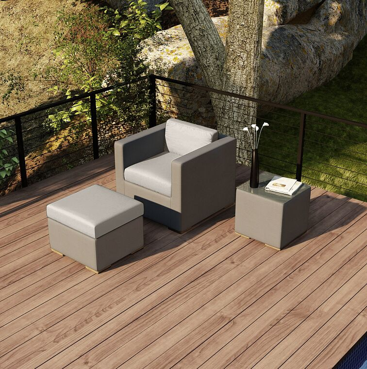 Element 3 Piece Teak Conversation Set with Sunbrella Cushions Fabric: Cast Silver