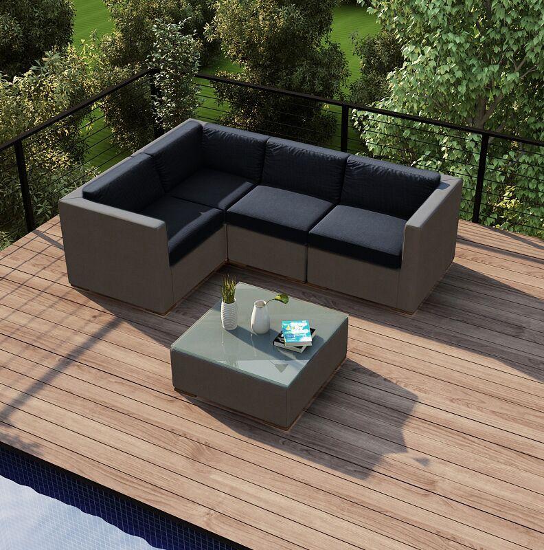 Element 5 Piece Teak Sectional Set with Sunbrella Cushions Fabric: Spectrum Indigo