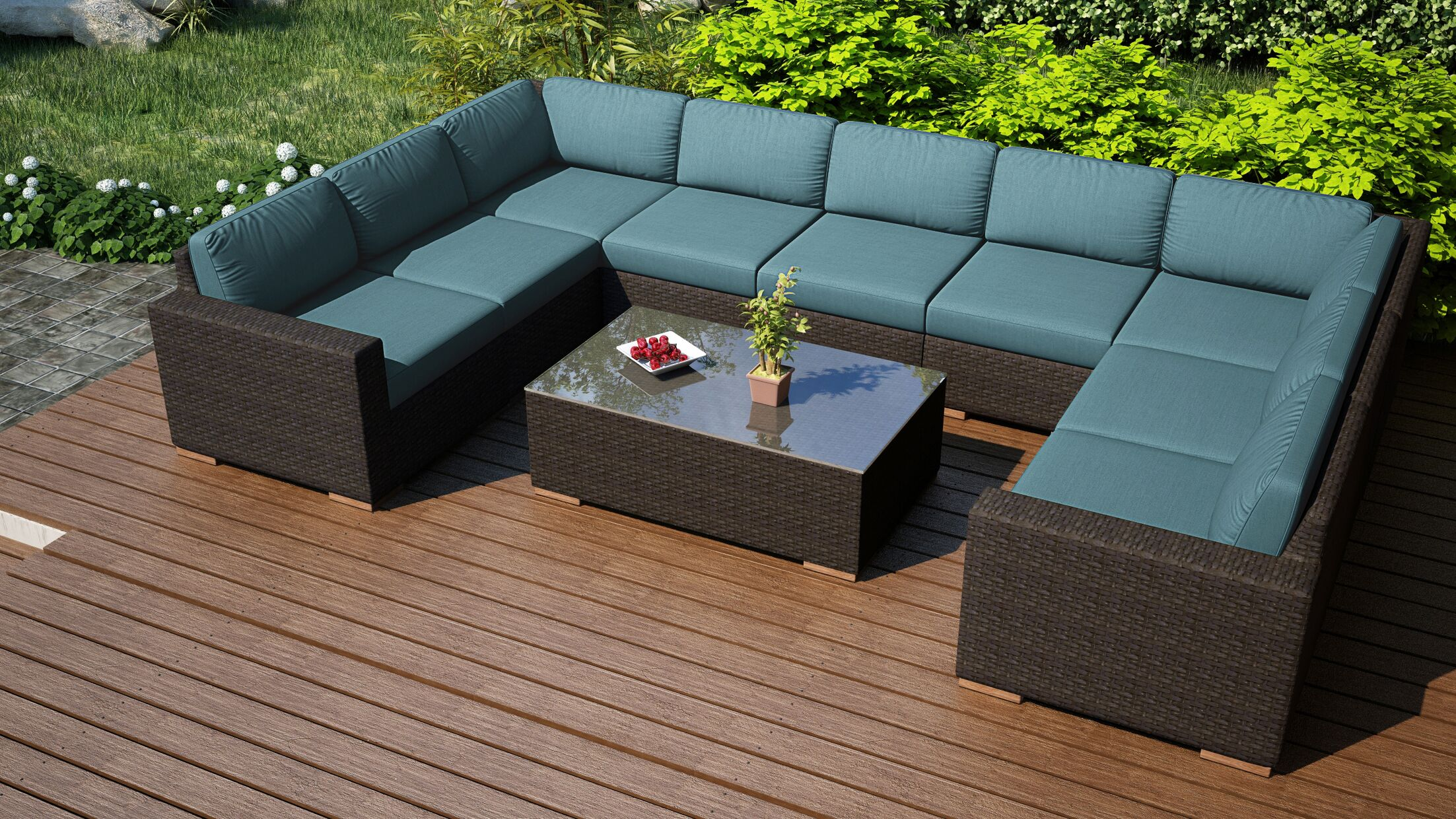 Arden 10 Piece Surround Sectional Set with Cushions Fabric: Cast Lagoon