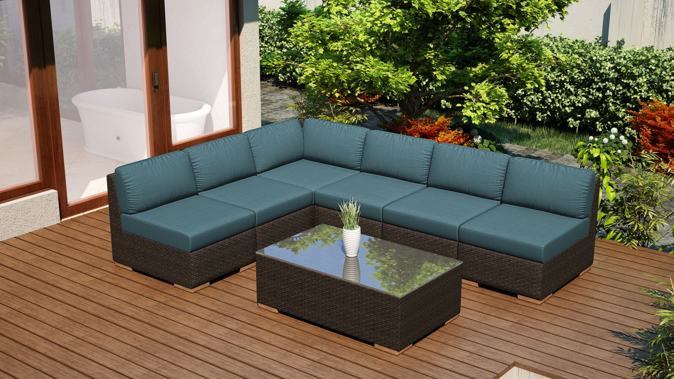 Arden 7 Piece Sectional Set with Cushions Fabric: Cast Lagoon