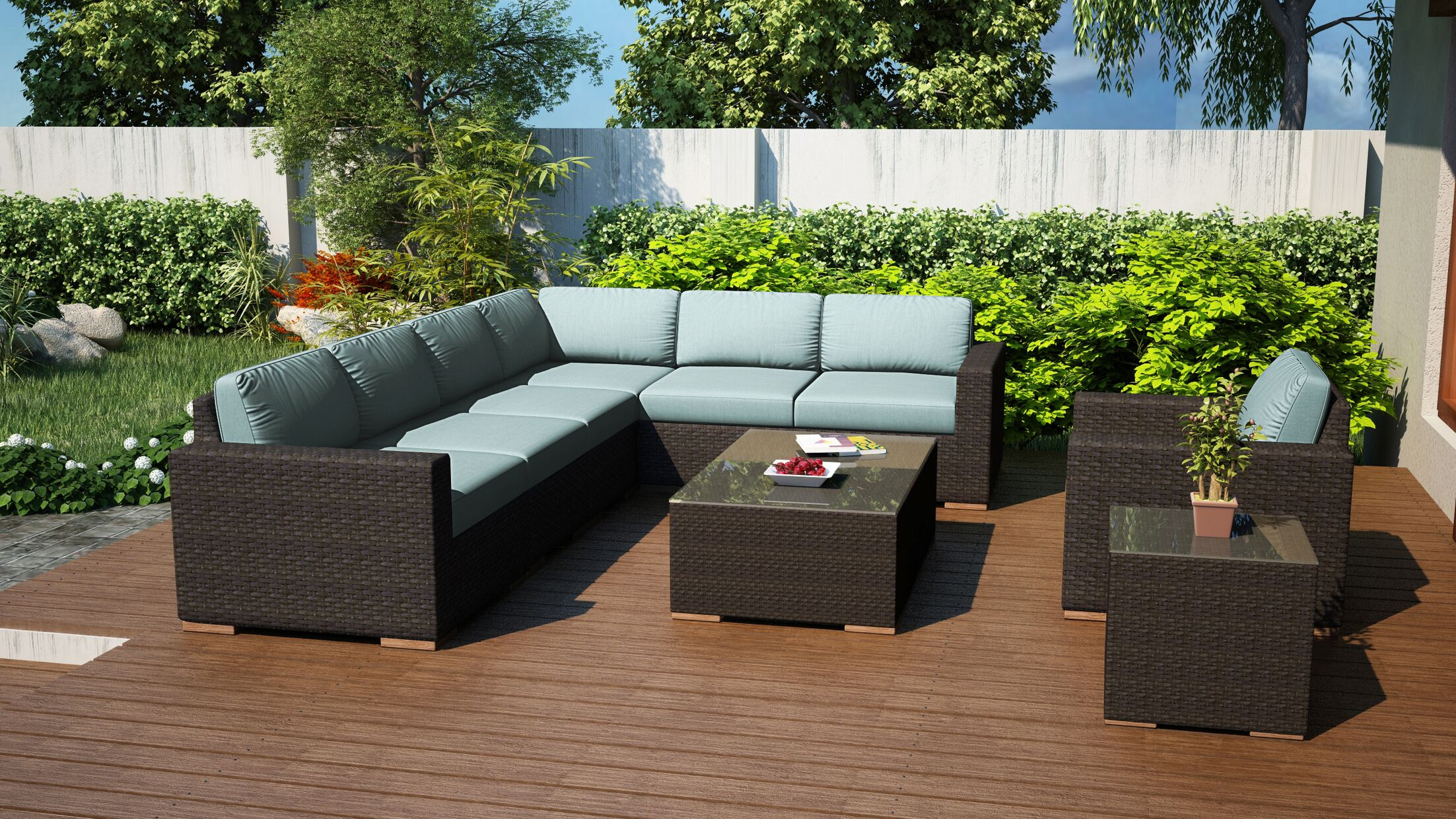 Arden 9 Piece Sectional Set with Cushions Fabric: Canvas Spa