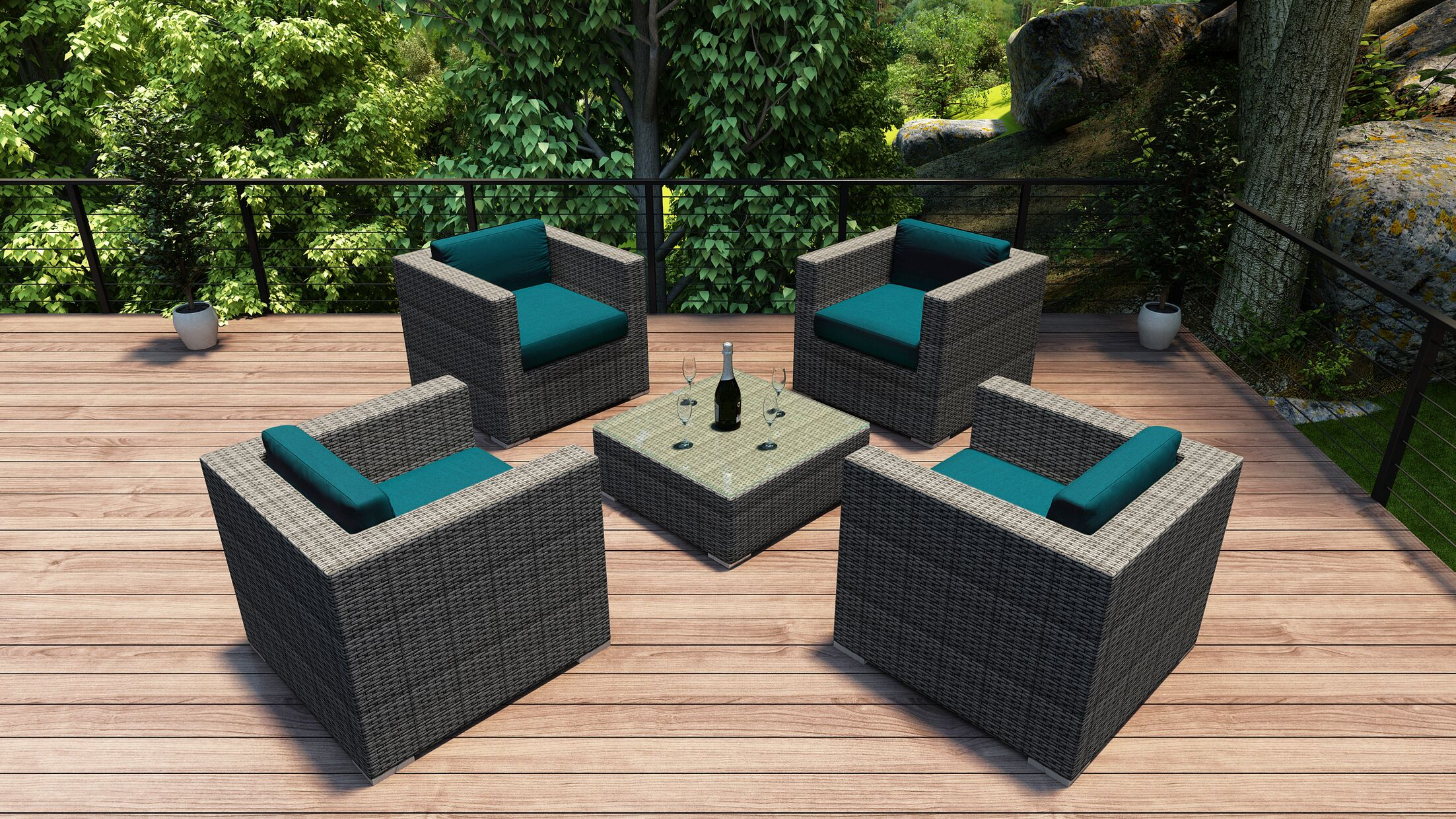 District 5 Piece Conversation Set with Cushions Fabric: Spectrum Peacock