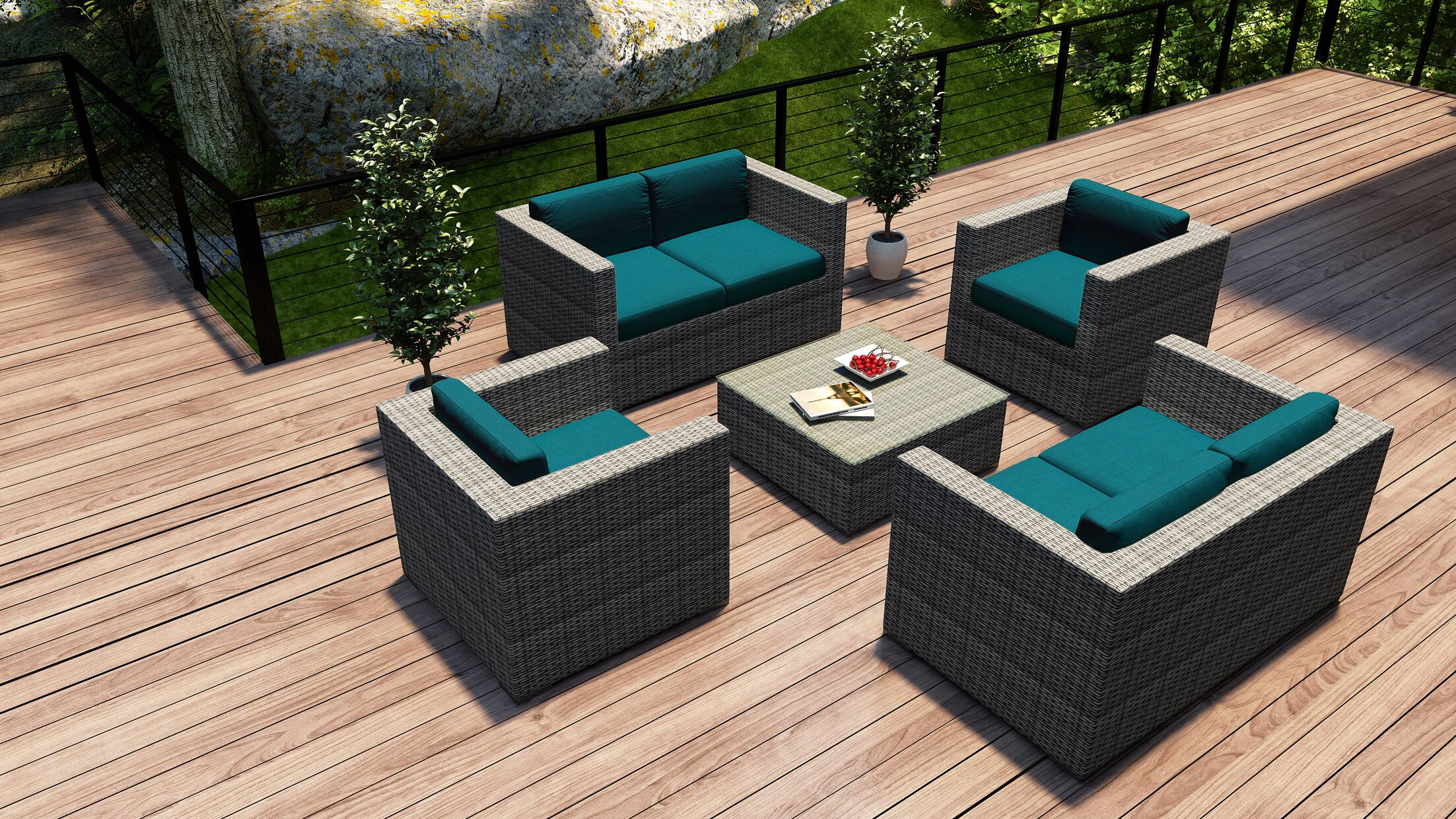District 5 Piece Double Sofa Set with Cushions Fabric: Spectrum Peacock