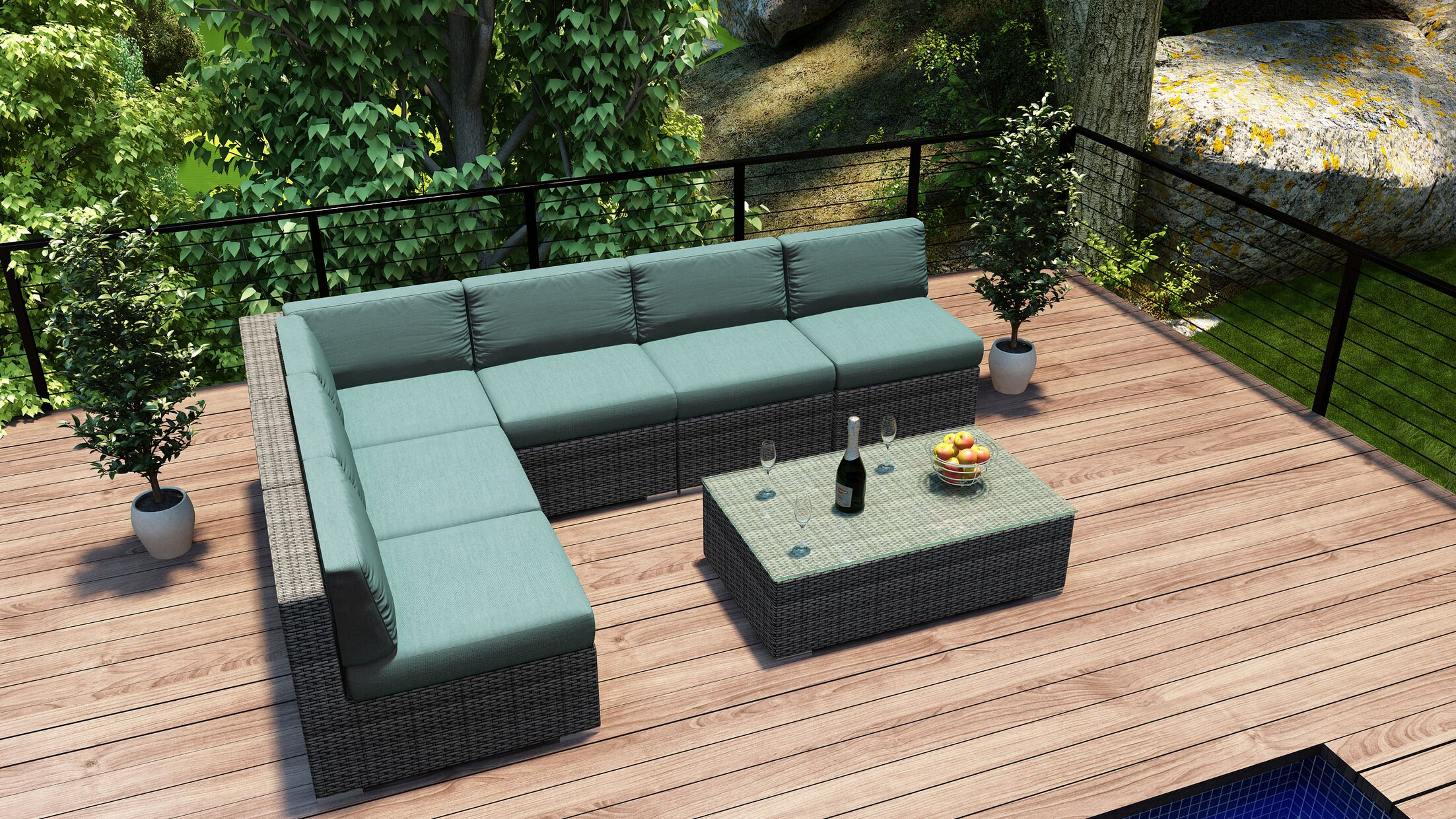 District 7 Piece Sectional Set with Cushions Fabric: Canvas Spa