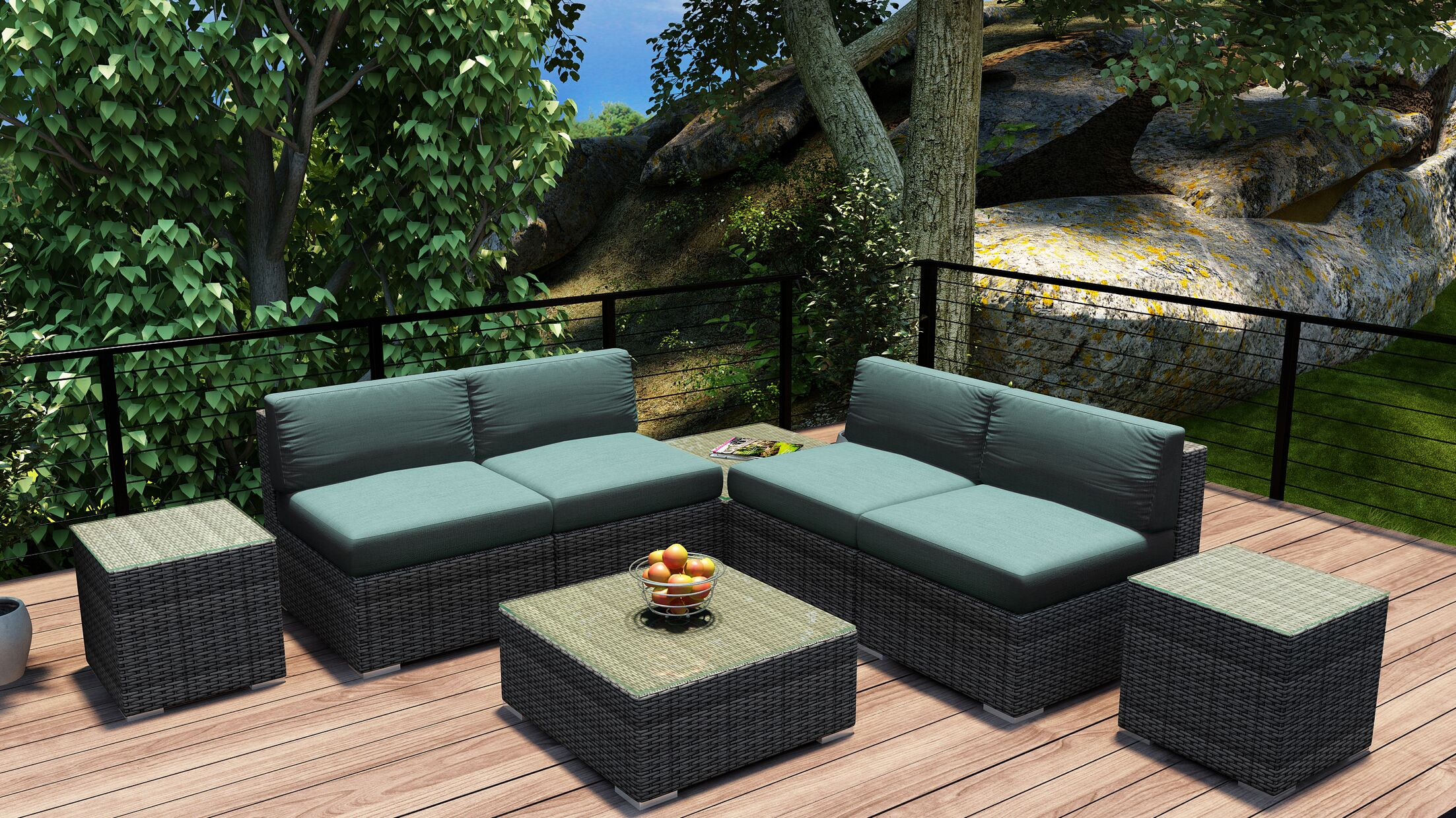 District 8 Piece Sectional Set with Cushions Fabric: Canvas Spa