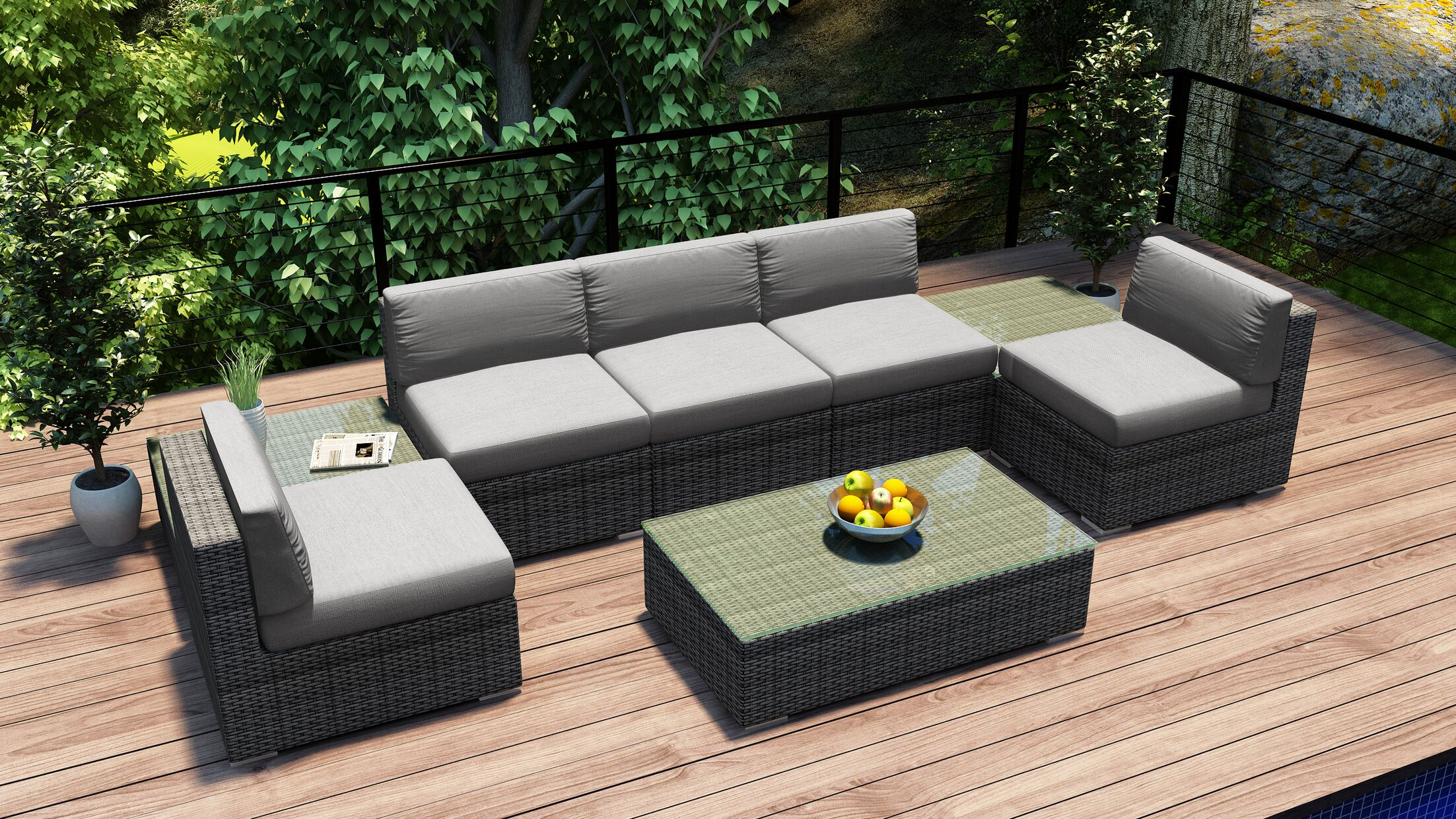 District 8 Piece Sectional Set with Cushions Fabric: Cast Silver