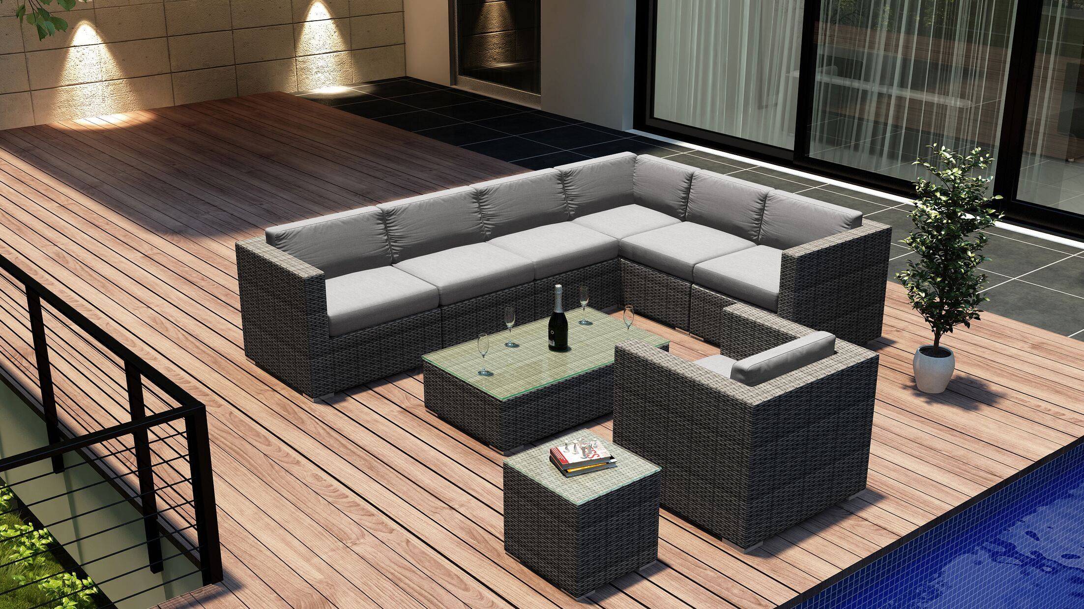 District 9 Piece Sectional Set with Cushions Fabric: Cast Silver
