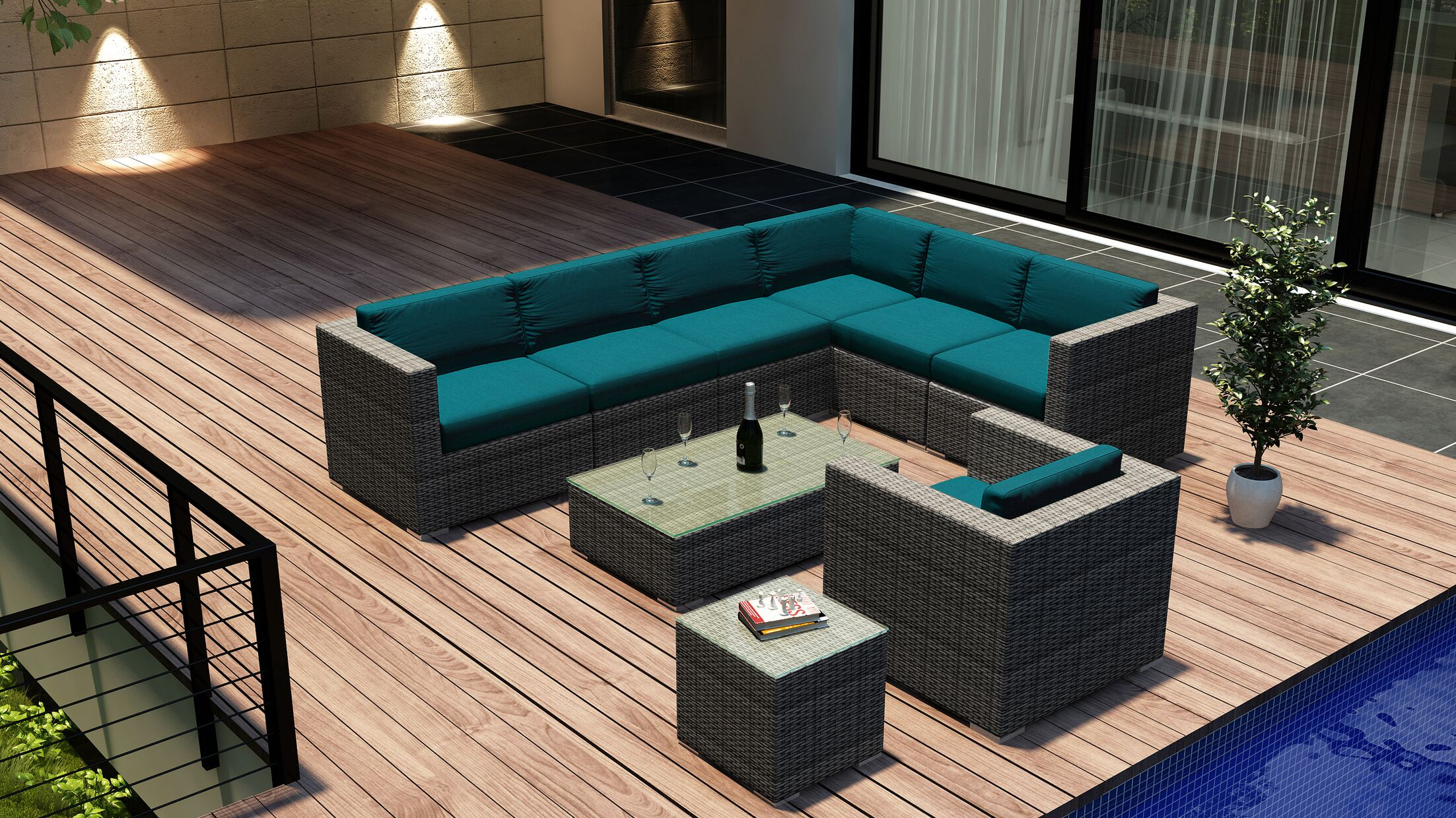 District 9 Piece Sectional Set with Cushions Fabric: Spectrum Peacock