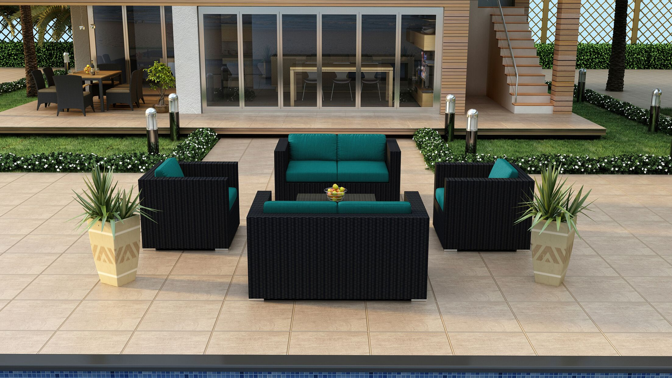 Urbana 5 Piece Double Loveseat Set with Cushions Fabric: Spectrum Peacock