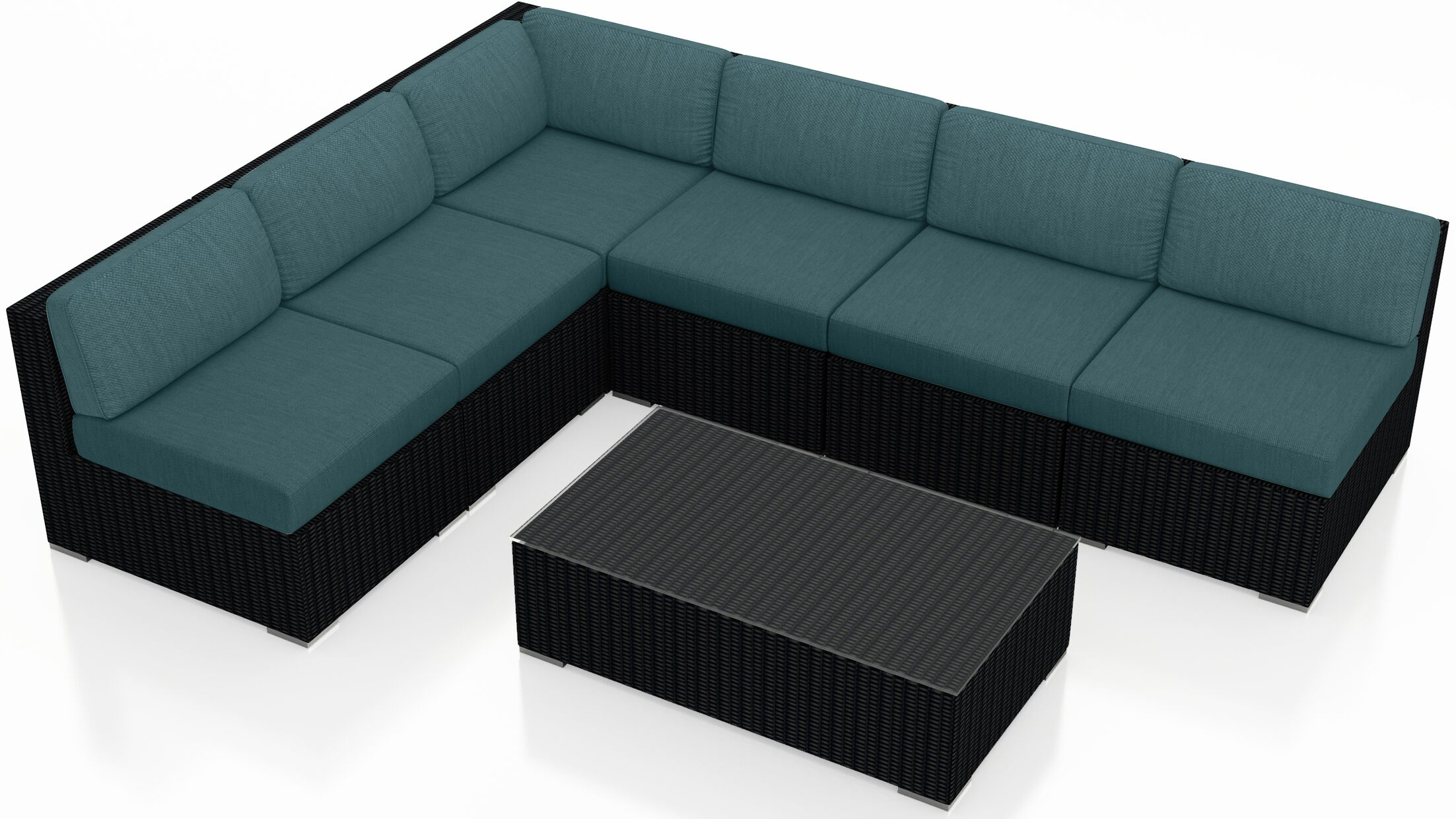 Urbana 7 Piece Sectional Set with Cushions Fabric: Cast Lagoon