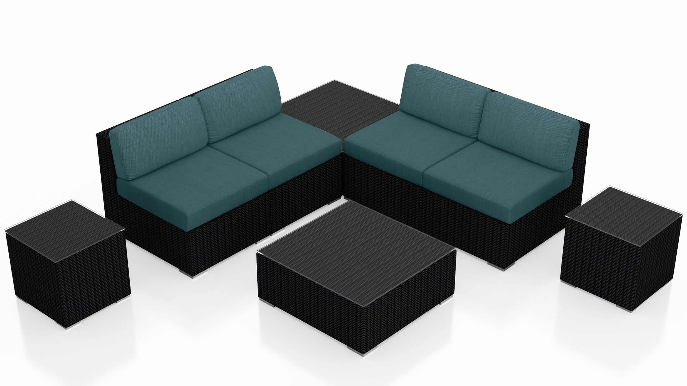 Urbana 8 Piece Sectional Set with Cushions Fabric: Cast Lagoon
