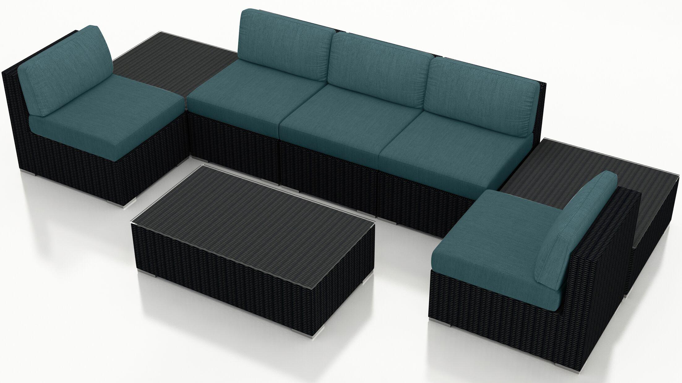 Urbana 8 Piece Sectional Set with Cushions Fabric: Cast Lagoon
