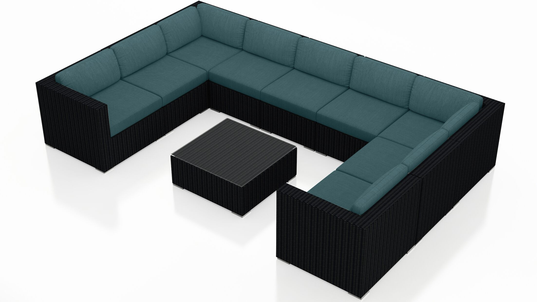 Urbana 10 Piece Surround Sectional Set with Cushions Fabric: Cast Lagoon