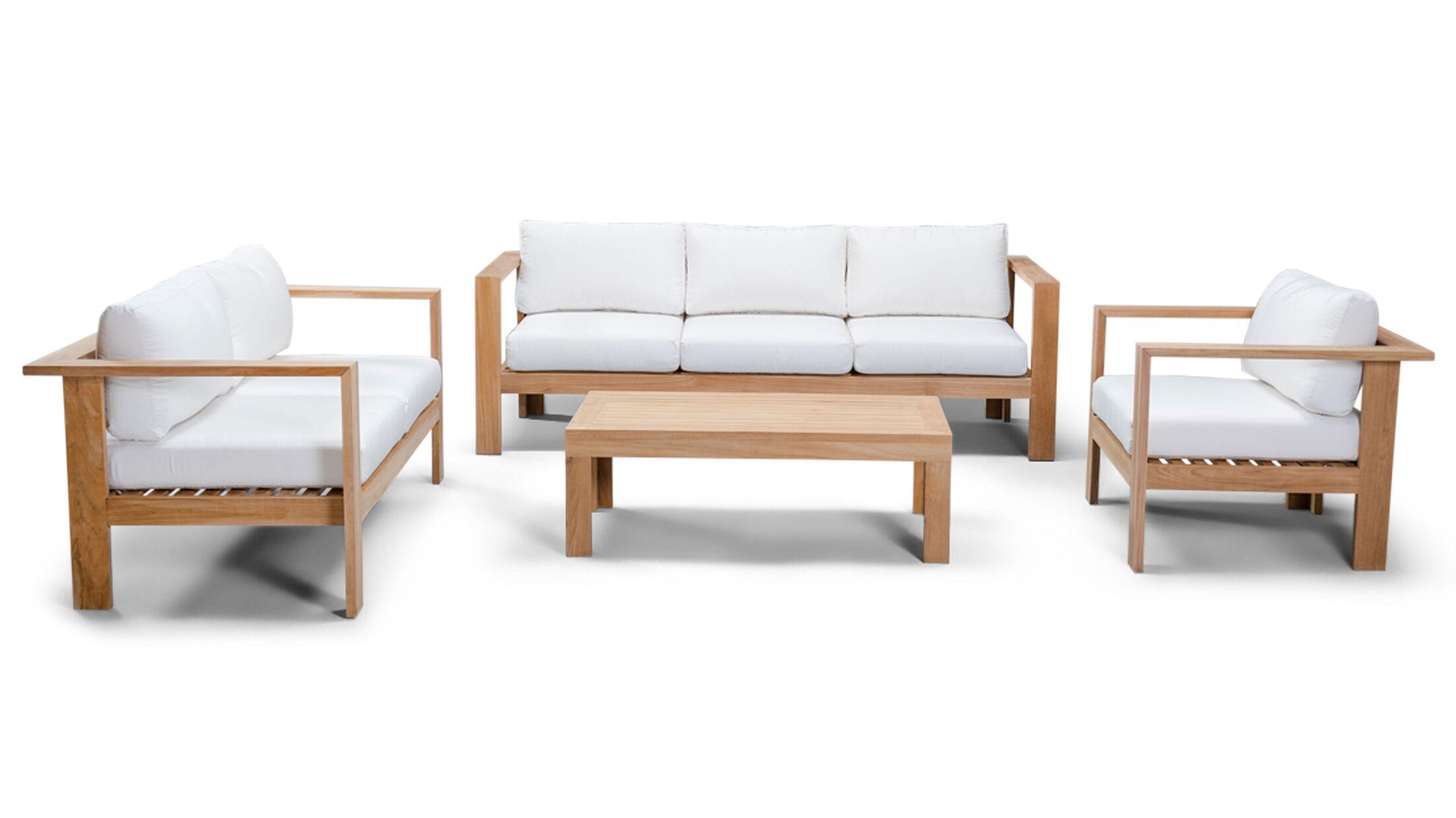 Ando 4 Piece Teak Sunbrella Sofa Set with Cushions Fabric: Canvas Natural