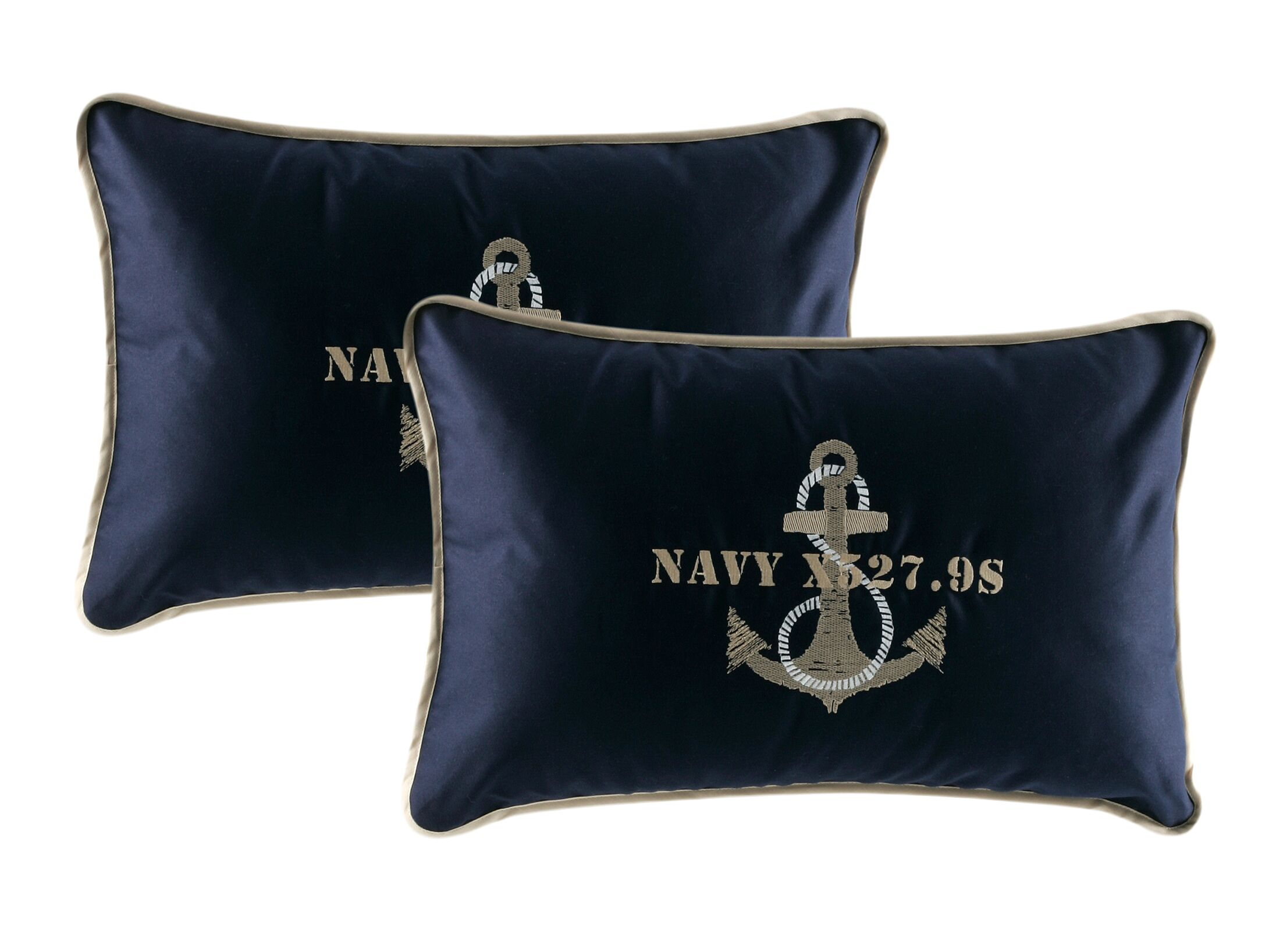 Free Style Anchor Throw Pillow Fabric: Navy Blue